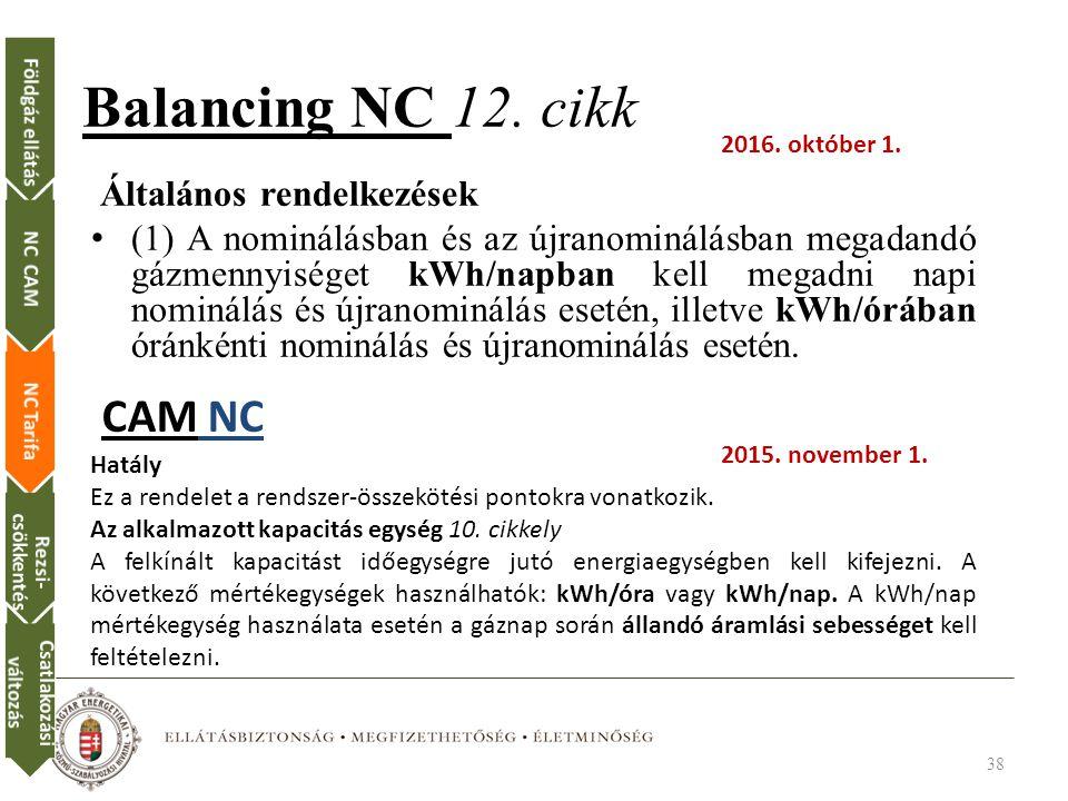 Balancing NC 12. cikk CAM NC Általános rendelkezések