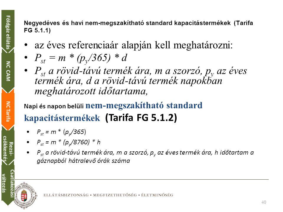 az éves referenciaár alapján kell meghatározni: Pst = m * (py/365) * d