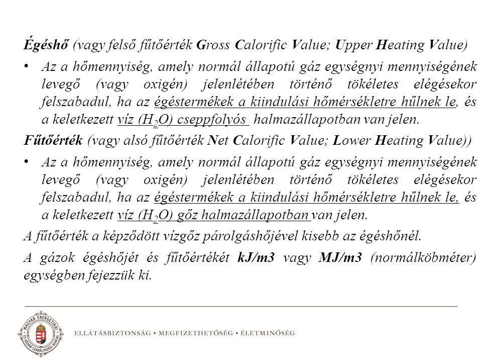 Égéshő (vagy felső fűtőérték Gross Calorific Value; Upper Heating Value)