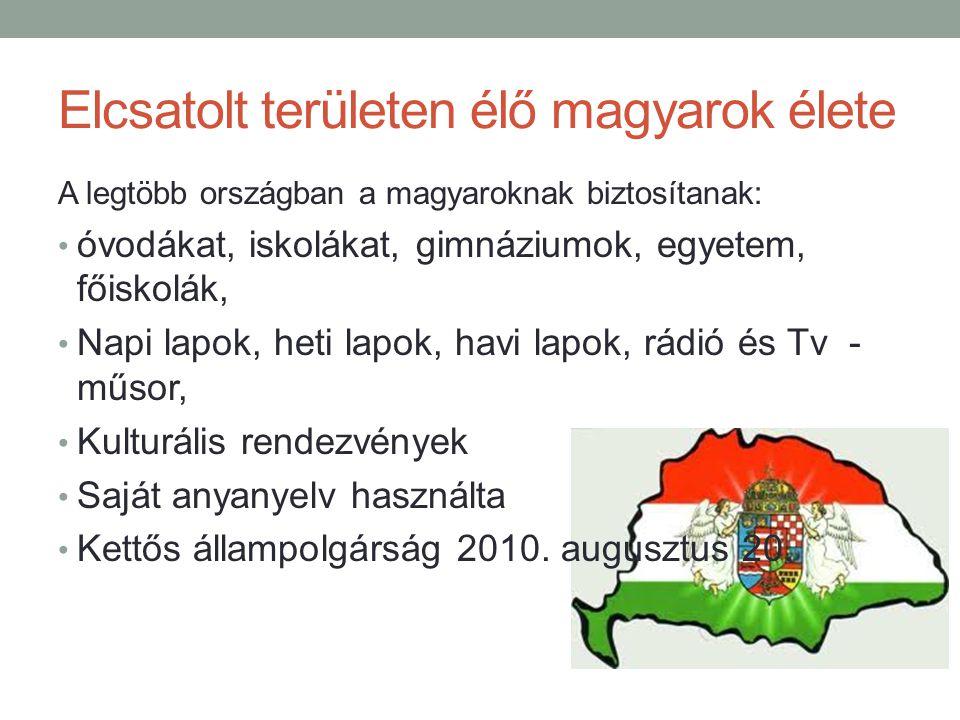Elcsatolt területen élő magyarok élete