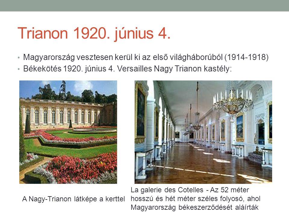 Trianon 1920. június 4. Magyarország vesztesen kerül ki az első világháborúból (1914-1918)