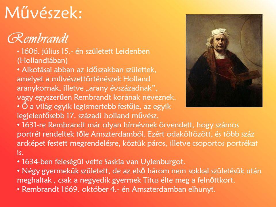 Művészek: Rembrandt (Hollandiában)