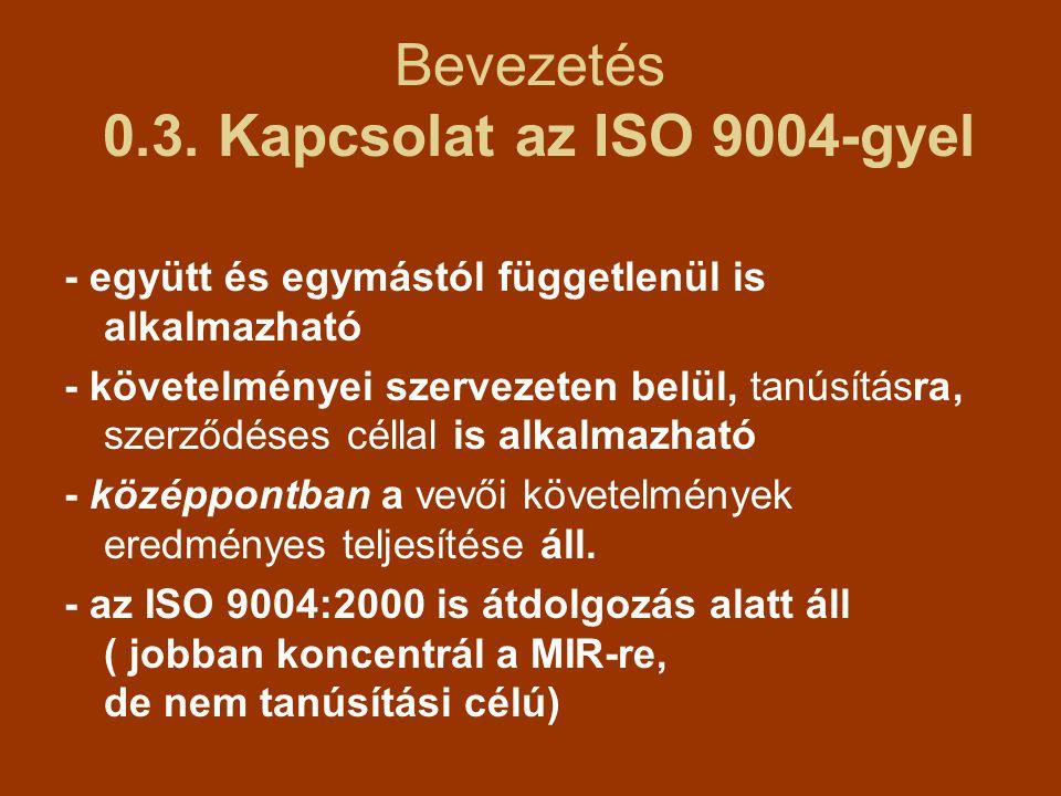 Bevezetés 0.3. Kapcsolat az ISO 9004-gyel