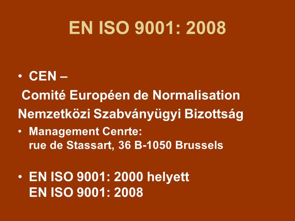 EN ISO 9001: 2008 CEN – Comité Européen de Normalisation