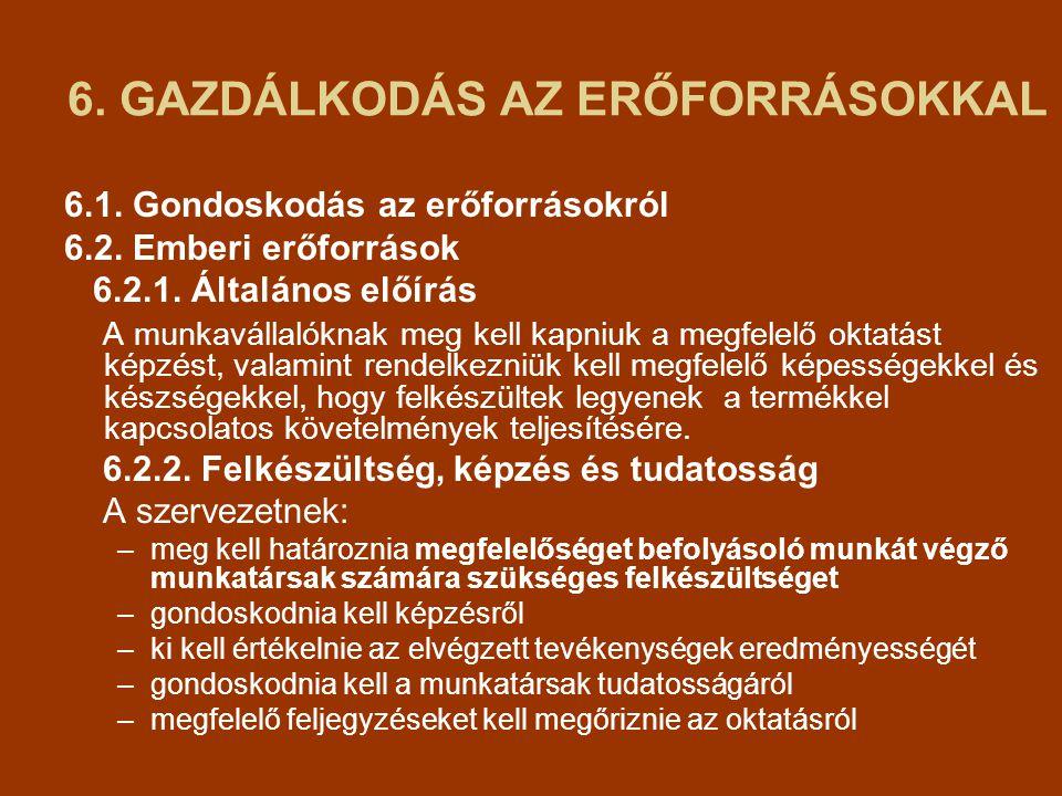 6. GAZDÁLKODÁS AZ ERŐFORRÁSOKKAL