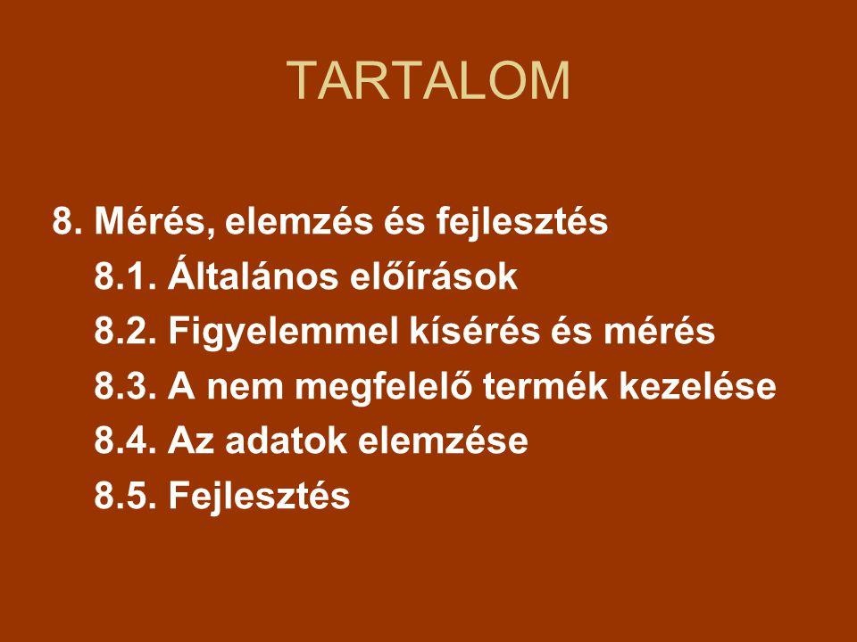 TARTALOM 8. Mérés, elemzés és fejlesztés 8.1. Általános előírások