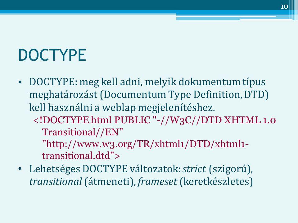 DOCTYPE DOCTYPE: meg kell adni, melyik dokumentum típus meghatározást (Documentum Type Definition, DTD) kell használni a weblap megjelenítéshez.