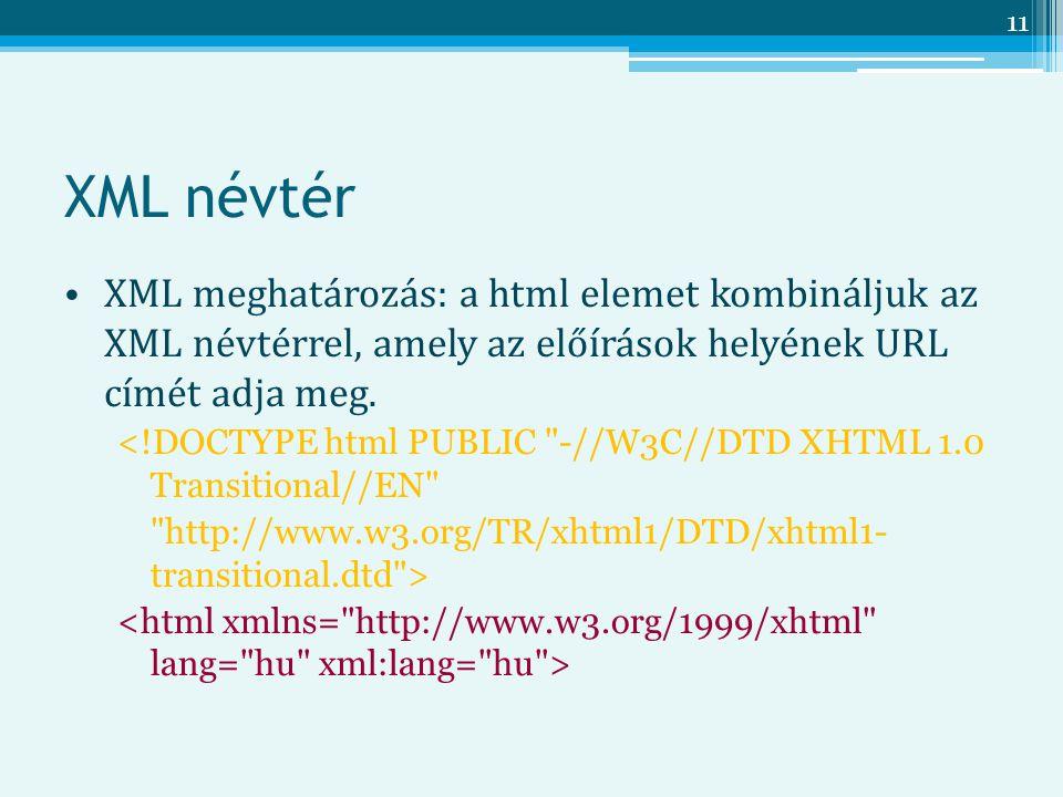 XML névtér XML meghatározás: a html elemet kombináljuk az XML névtérrel, amely az előírások helyének URL címét adja meg.