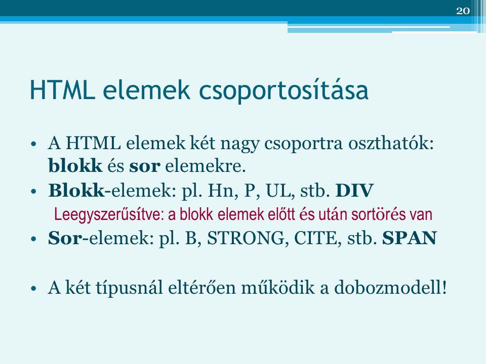 HTML elemek csoportosítása
