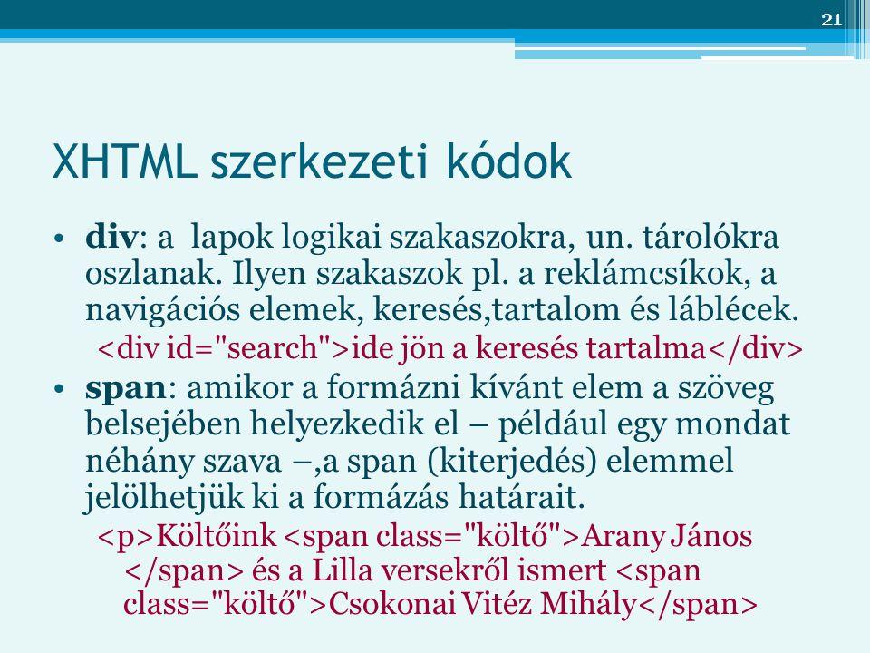 XHTML szerkezeti kódok