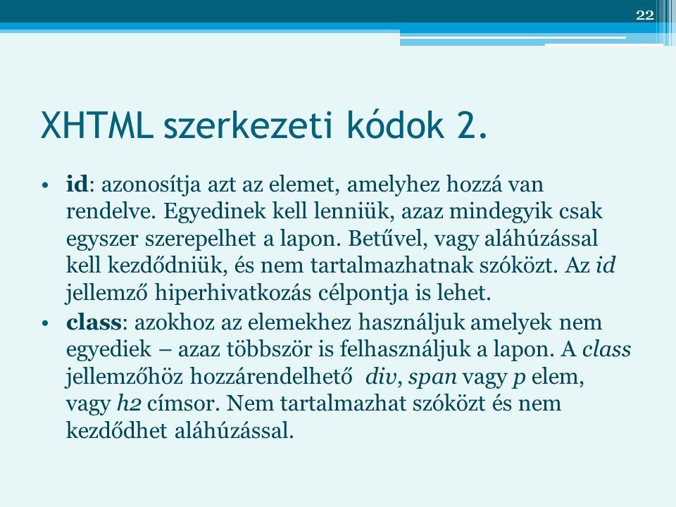 XHTML szerkezeti kódok 2.