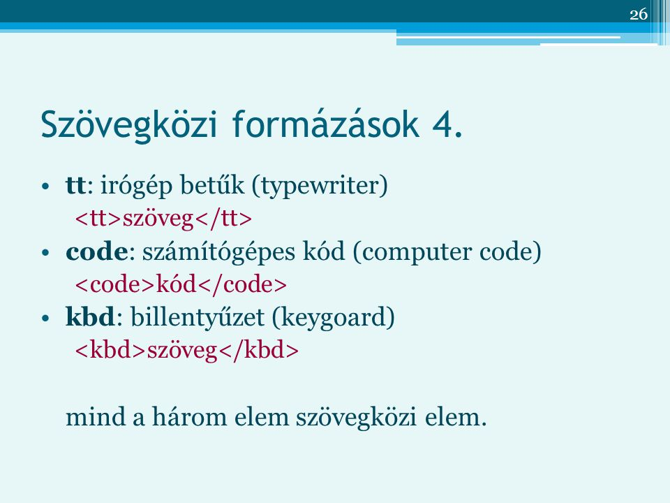 Szövegközi formázások 4.