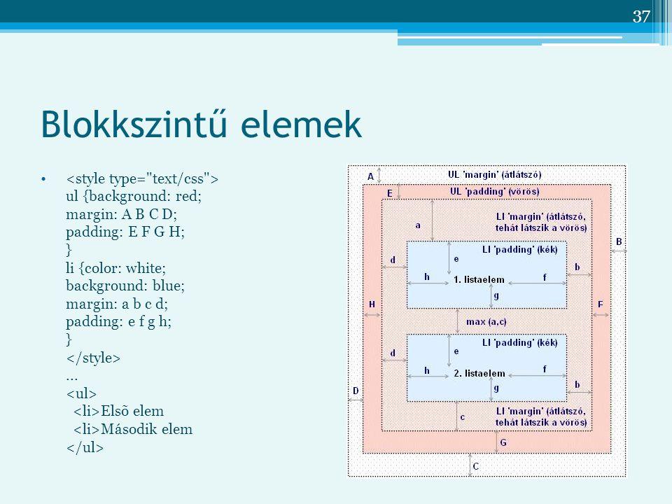 XHTML és CSS Blokkszintű elemek.
