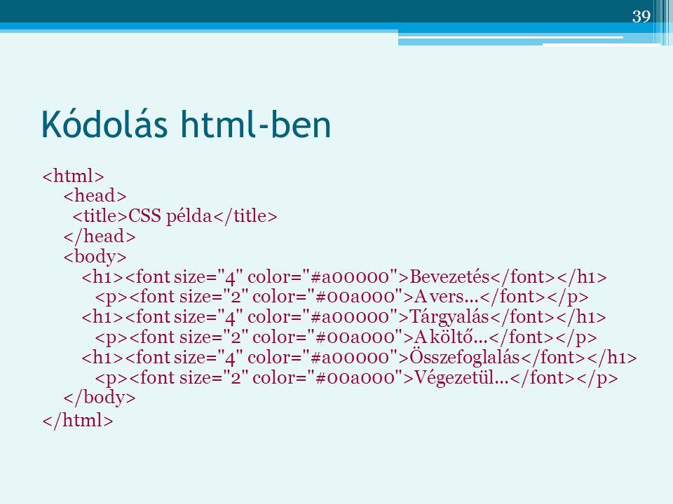 Kódolás html-ben