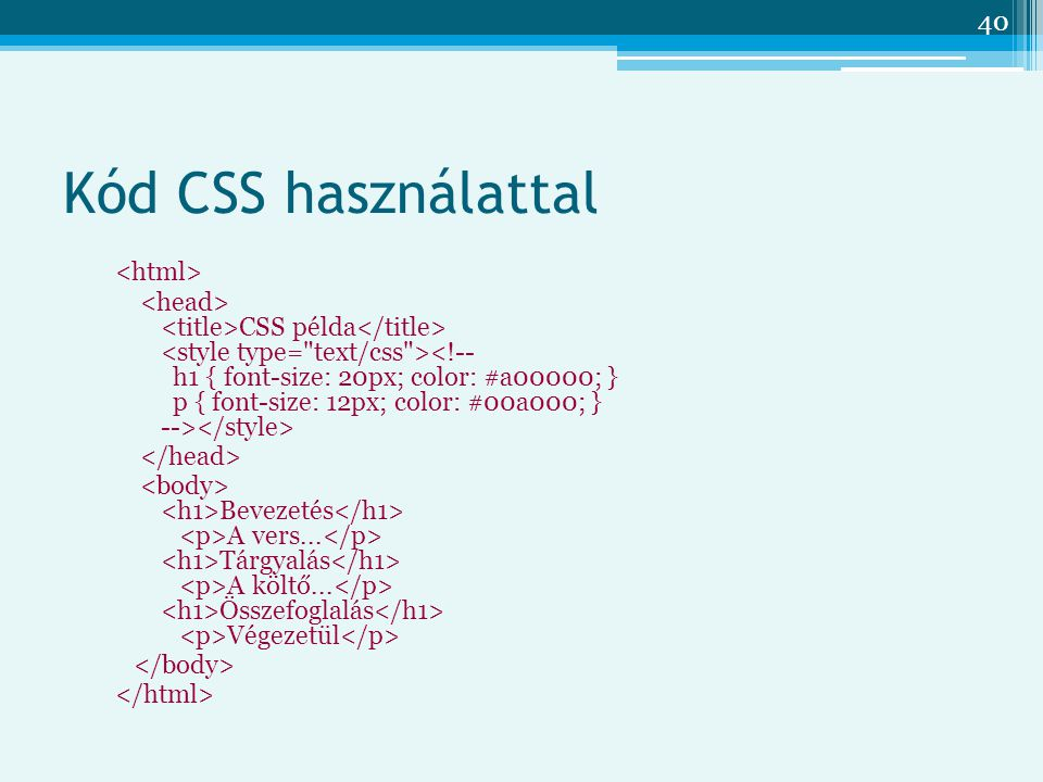 Kód CSS használattal <html>