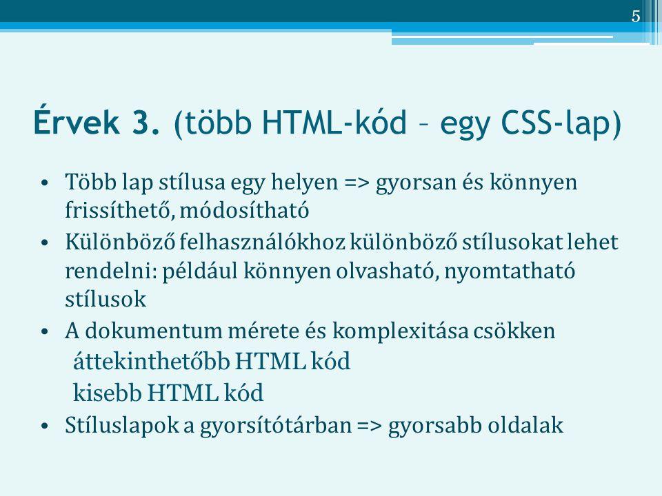 Érvek 3. (több HTML-kód – egy CSS-lap)