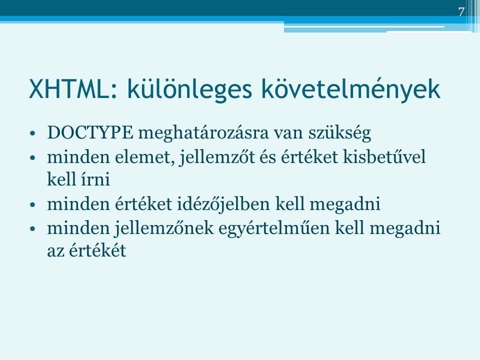 XHTML: különleges követelmények