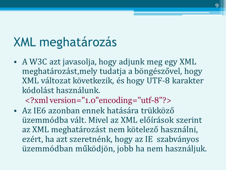 XML meghatározás