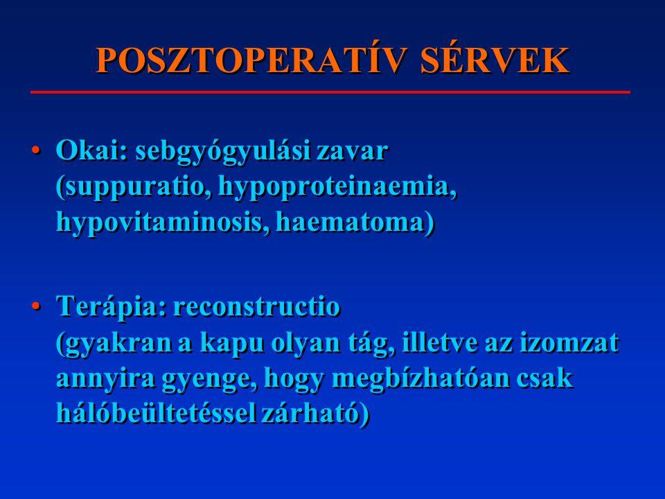 POSZTOPERATÍV SÉRVEK Okai: sebgyógyulási zavar (suppuratio, hypoproteinaemia, hypovitaminosis, haematoma)