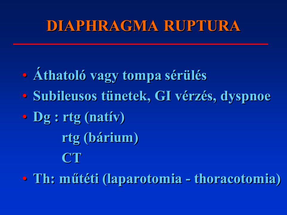 DIAPHRAGMA RUPTURA Áthatoló vagy tompa sérülés