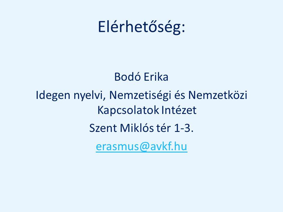 Elérhetőség: Bodó Erika Idegen nyelvi, Nemzetiségi és Nemzetközi Kapcsolatok Intézet Szent Miklós tér 1-3.