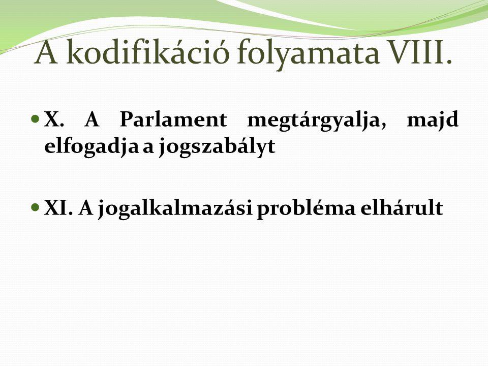 A kodifikáció folyamata VIII.