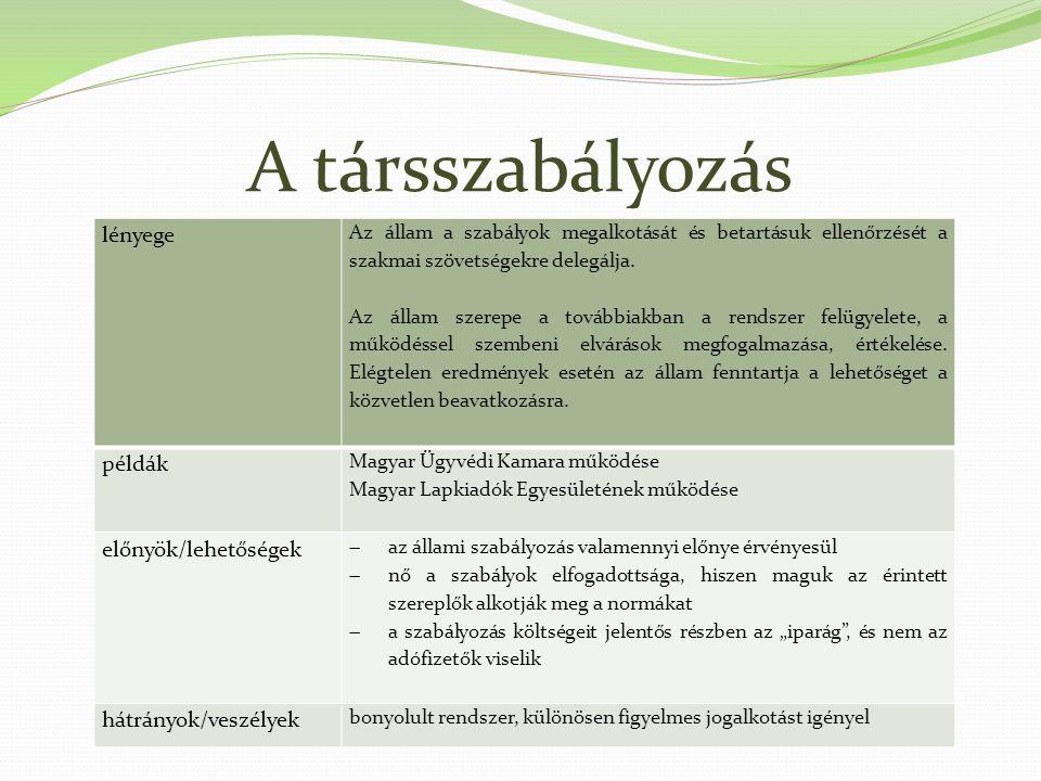 A társszabályozás lényege példák előnyök/lehetőségek