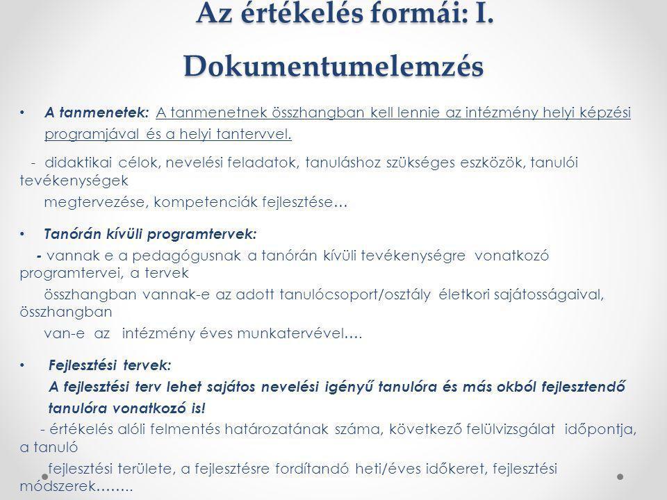 Az értékelés formái: I. Dokumentumelemzés