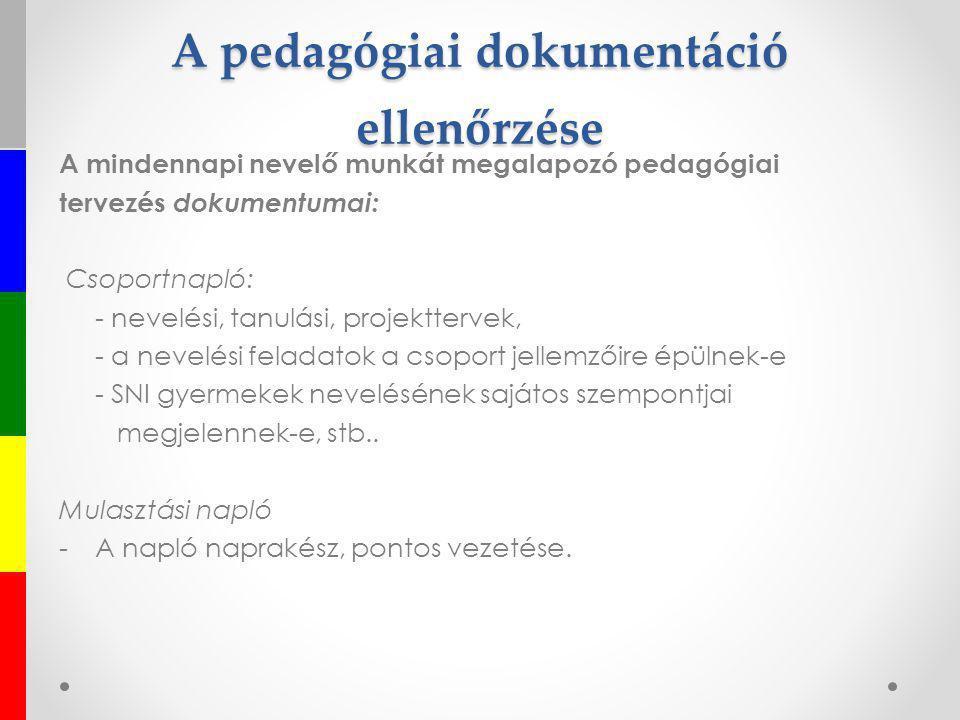 A pedagógiai dokumentáció ellenőrzése