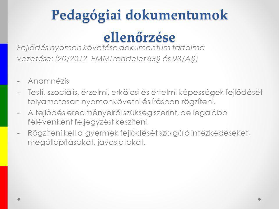 Pedagógiai dokumentumok ellenőrzése