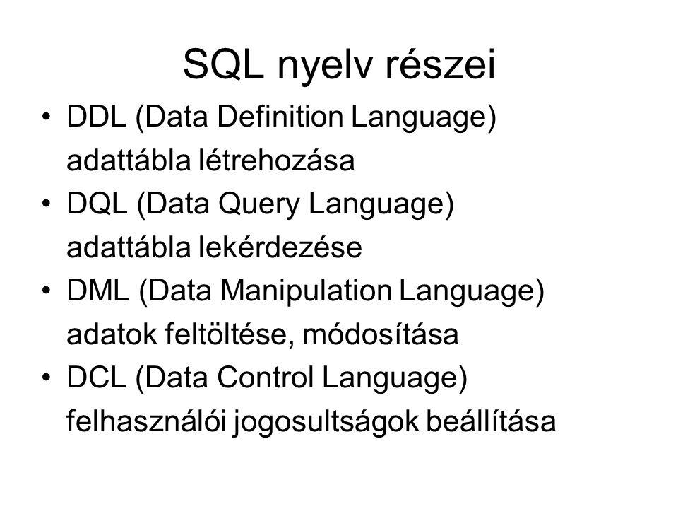 SQL nyelv részei DDL (Data Definition Language) adattábla létrehozása
