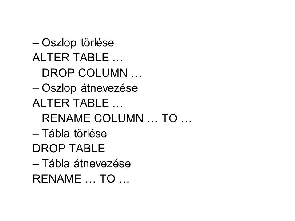 Oszlop törlése ALTER TABLE … DROP COLUMN … Oszlop átnevezése. RENAME COLUMN … TO … Tábla törlése.
