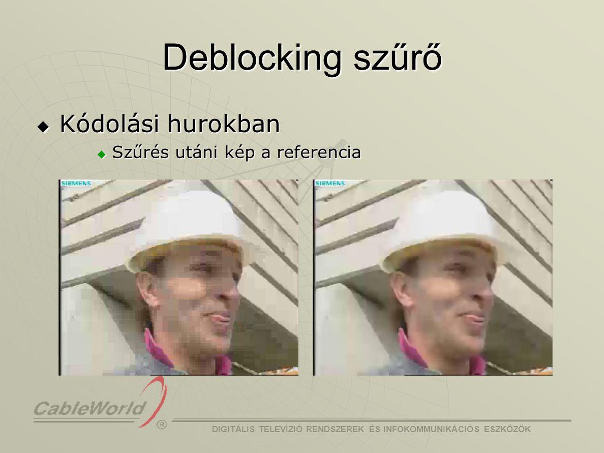 Deblocking szűrő Kódolási hurokban Szűrés utáni kép a referencia