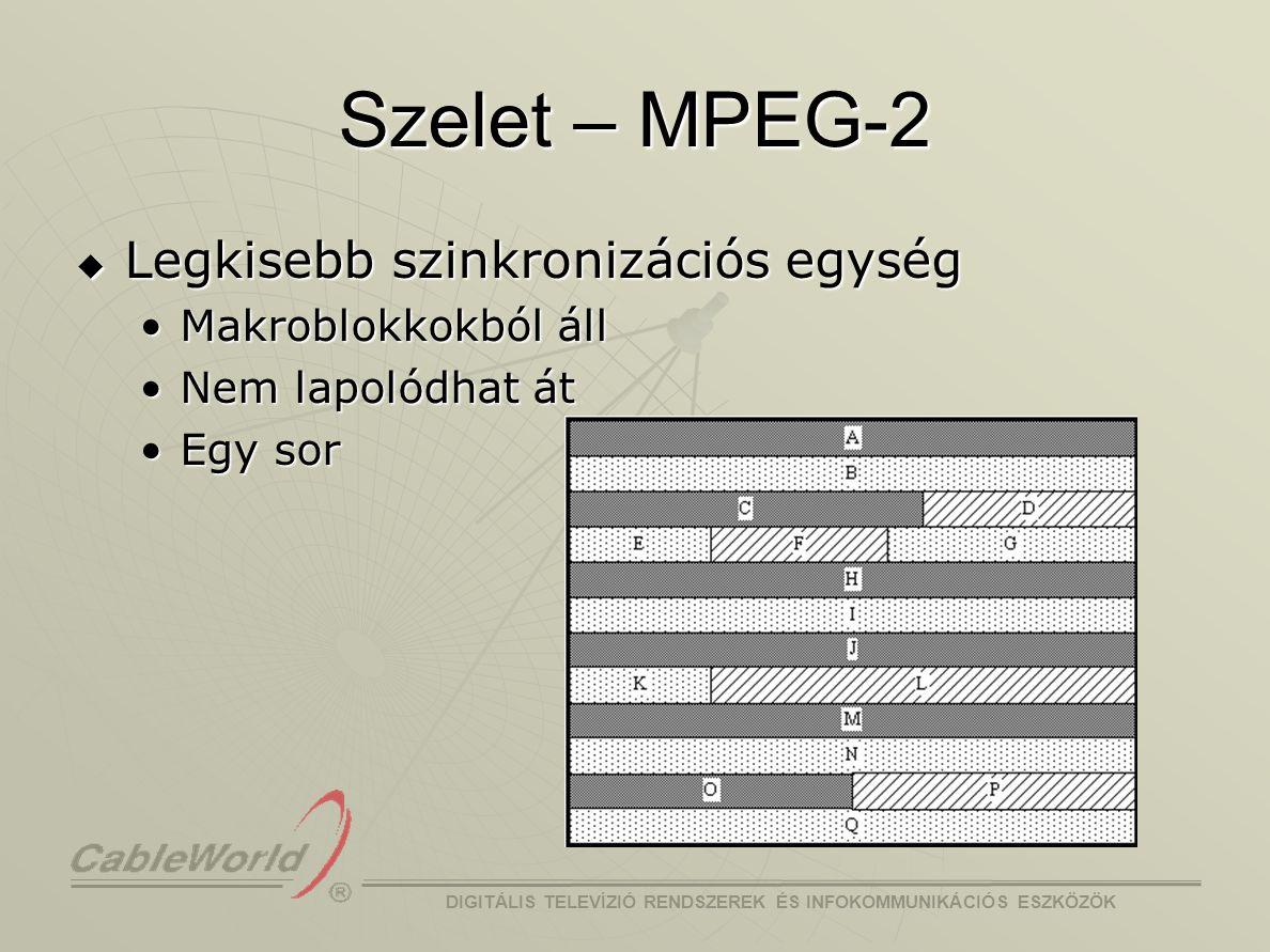 Szelet – MPEG-2 Legkisebb szinkronizációs egység Makroblokkokból áll