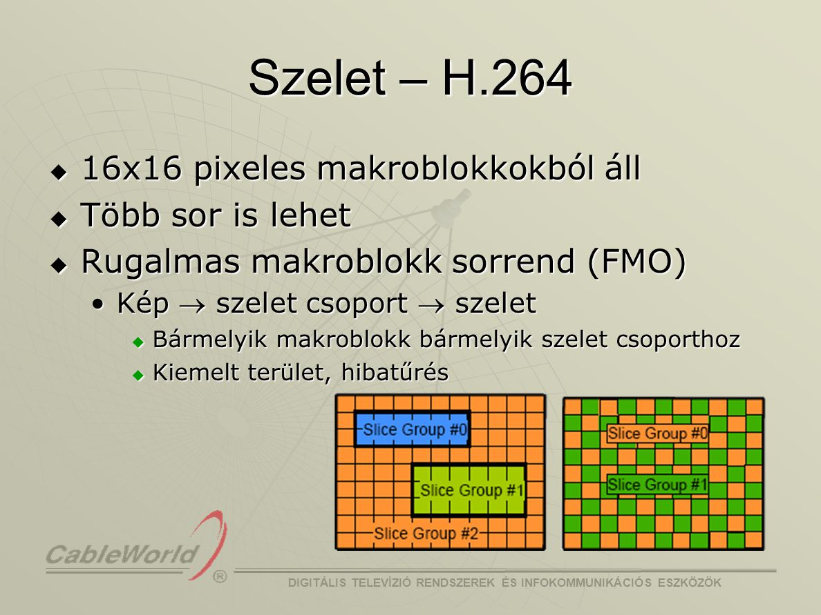 Szelet – H.264 16x16 pixeles makroblokkokból áll Több sor is lehet