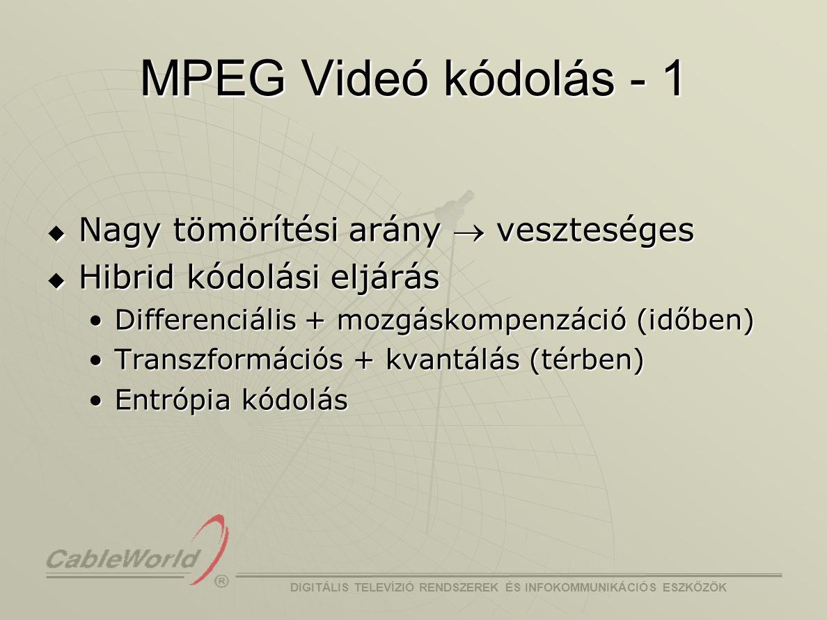 MPEG Videó kódolás - 1 Nagy tömörítési arány ® veszteséges