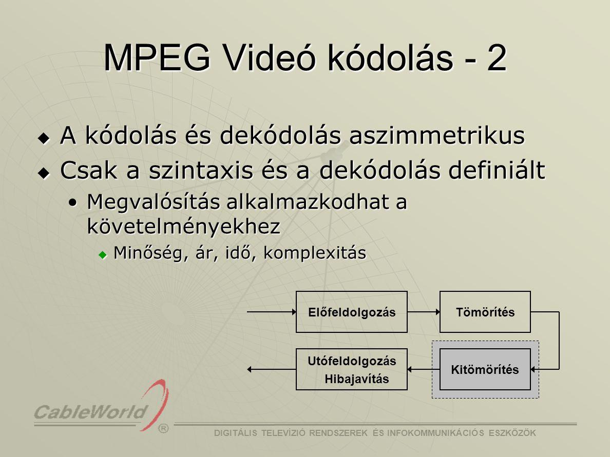 MPEG Videó kódolás - 2 A kódolás és dekódolás aszimmetrikus