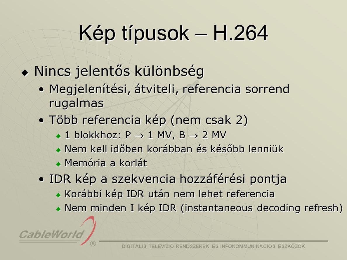 Kép típusok – H.264 Nincs jelentős különbség