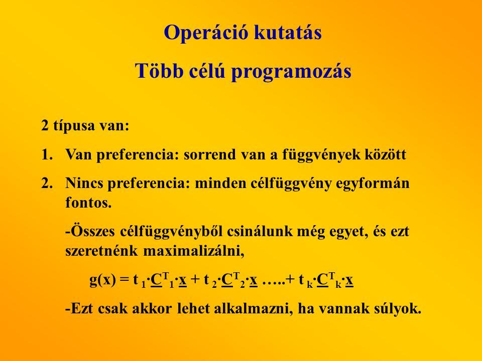 Operáció kutatás Több célú programozás