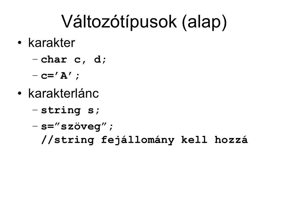 Változótípusok (alap)