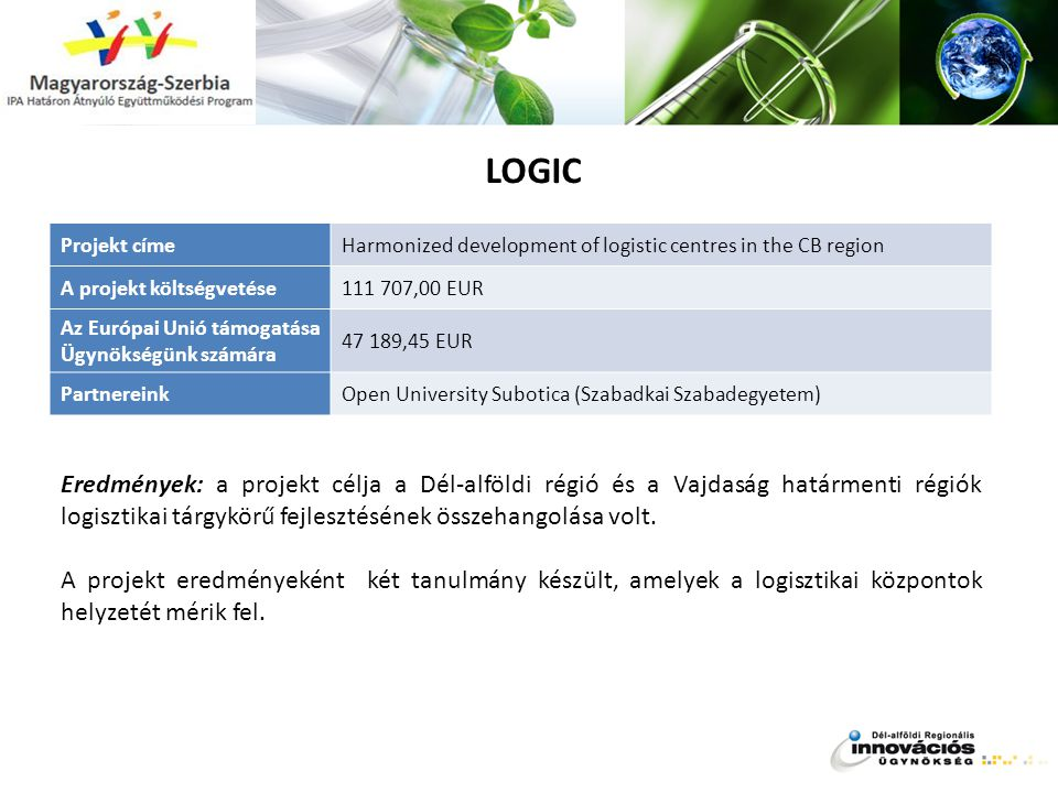 LOGIC Projekt címe. Harmonized development of logistic centres in the CB region. A projekt költségvetése.