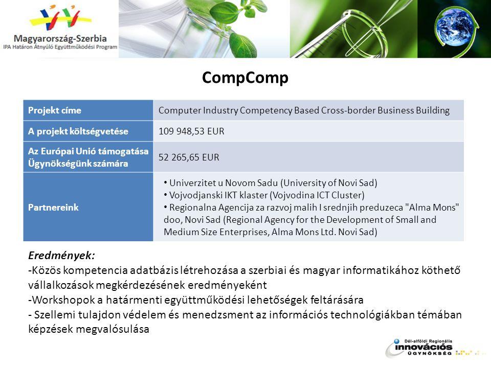 CompComp Projekt címe Az Európai Unió támogatása Ügynökségünk számára