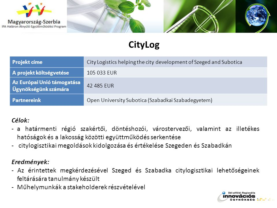 CityLog Projekt címe. City Logistics helping the city development of Szeged and Subotica. A projekt költségvetése.