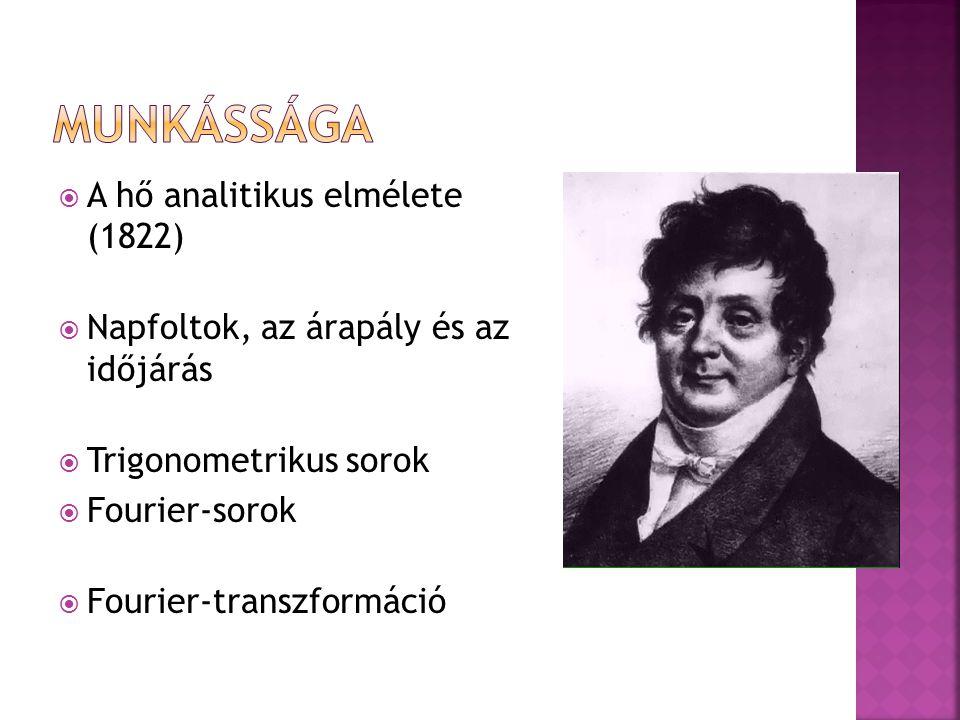 Munkássága A hő analitikus elmélete (1822)
