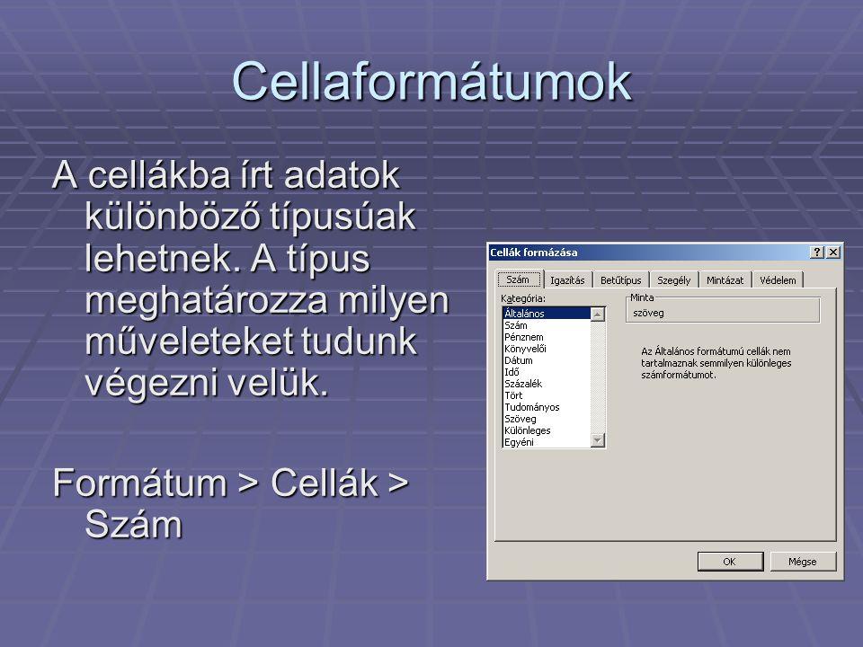 Cellaformátumok A cellákba írt adatok különböző típusúak lehetnek. A típus meghatározza milyen műveleteket tudunk végezni velük.