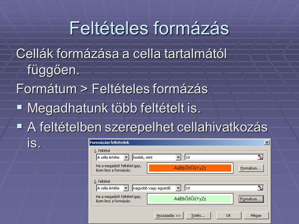 Feltételes formázás Cellák formázása a cella tartalmától függően.