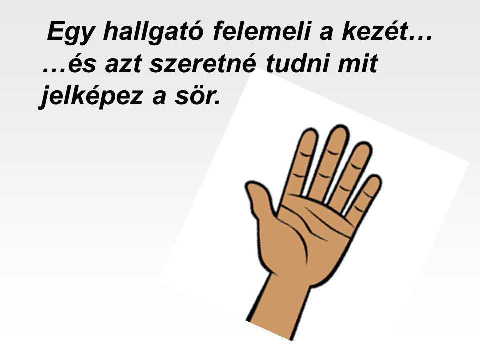 Egy hallgató felemeli a kezét…