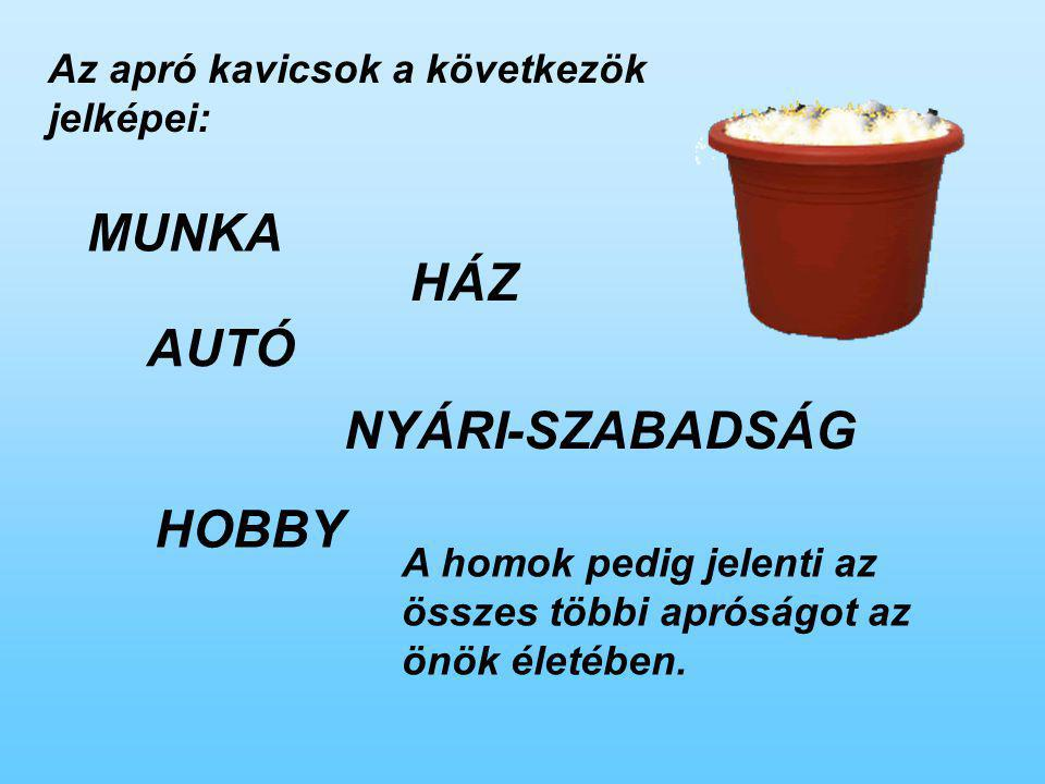 MUNKA HÁZ AUTÓ NYÁRI-SZABADSÁG HOBBY