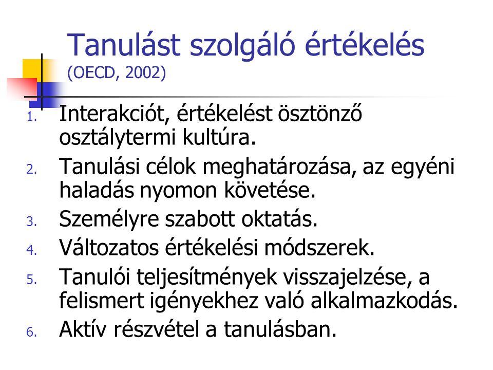 Tanulást szolgáló értékelés (OECD, 2002)
