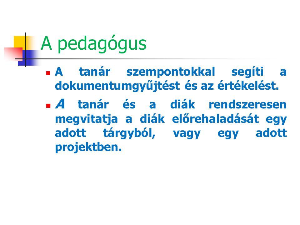 A pedagógus A tanár szempontokkal segíti a dokumentumgyűjtést és az értékelést.
